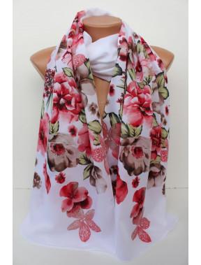 Белый шарф в цветы Шери