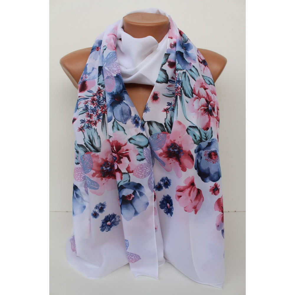 Воздушный белый шарф Шери  фото 1