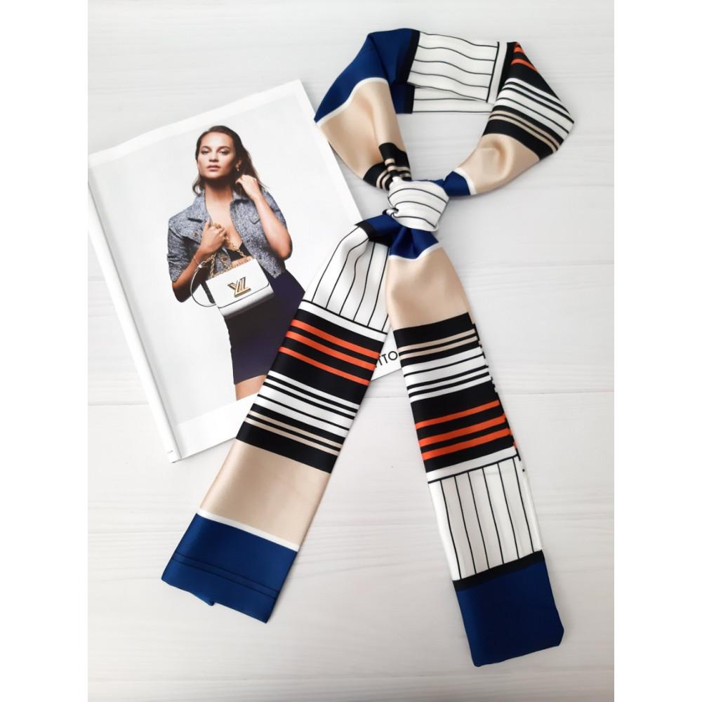 Контрастный шарф-галстук в полосы фото 1