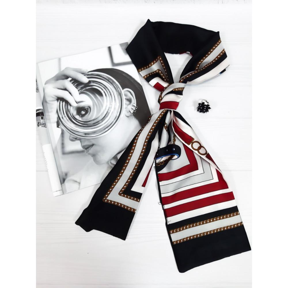 Контрастный шарф-галстук в ремешки фото 1