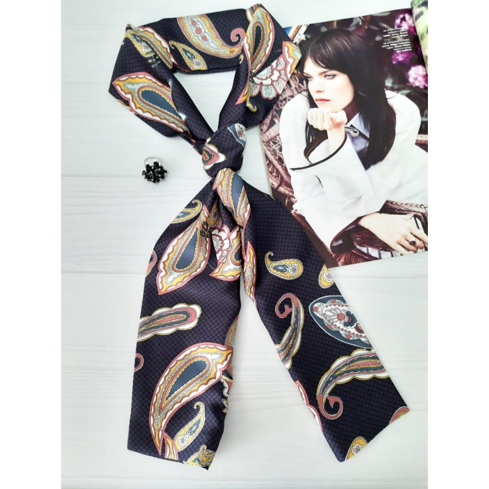 Графитовый шарф-галстук в модный принт фото 1