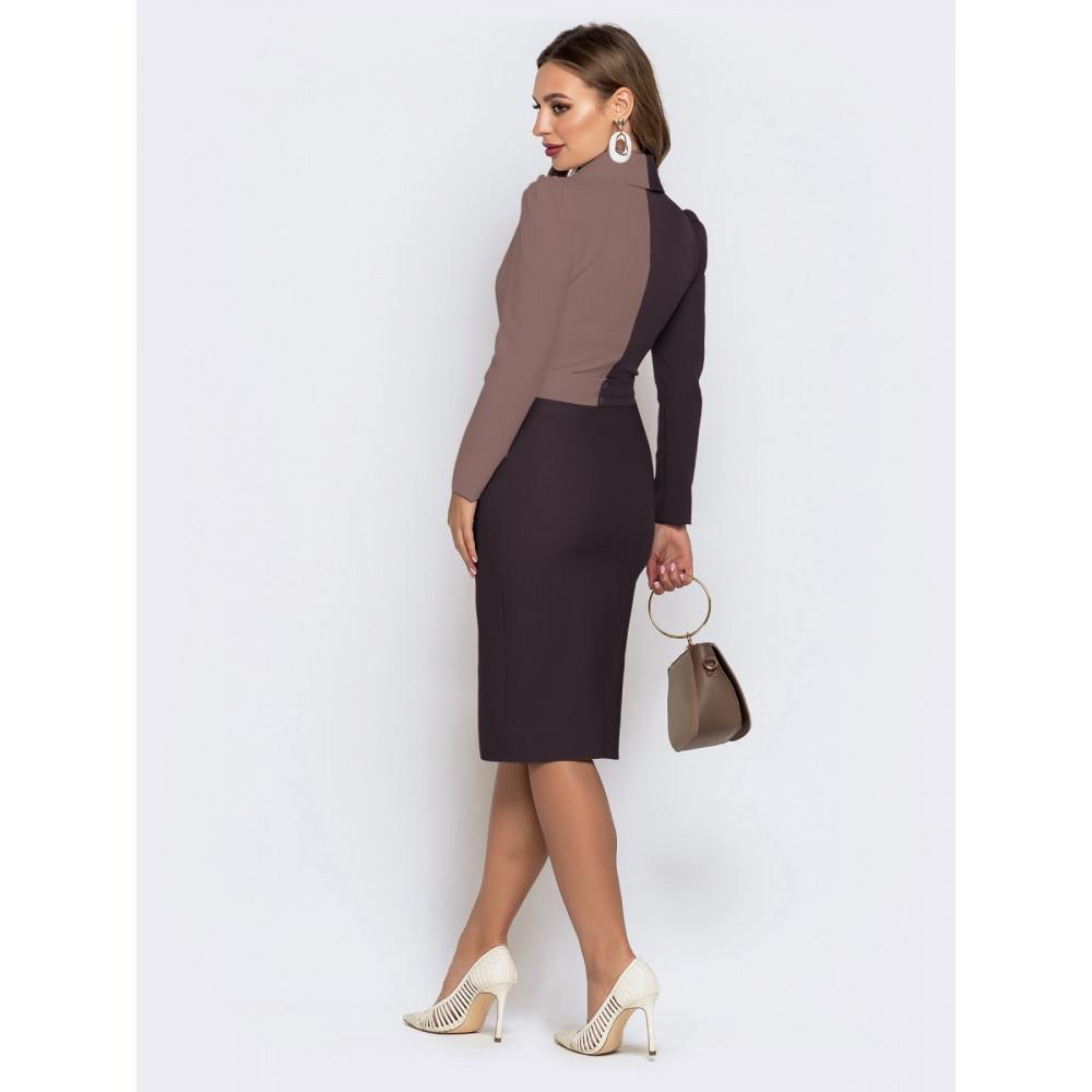 Элегантное комбинированное платье-футляр фото 2