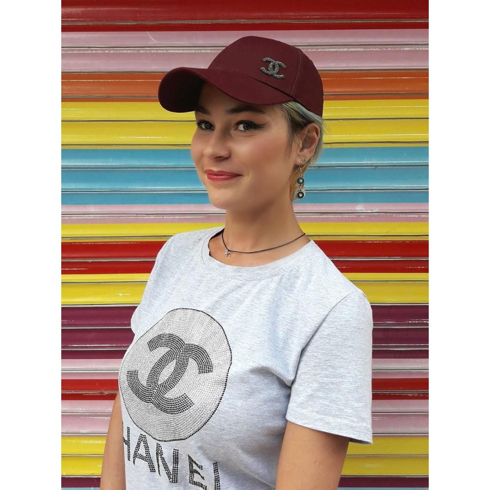 Бордовая бейсболка с логотипом Chanel  фото 1
