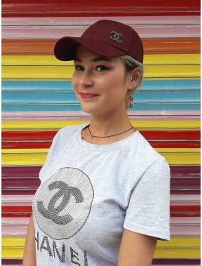 Бордовая бейсболка с логотипом Chanel