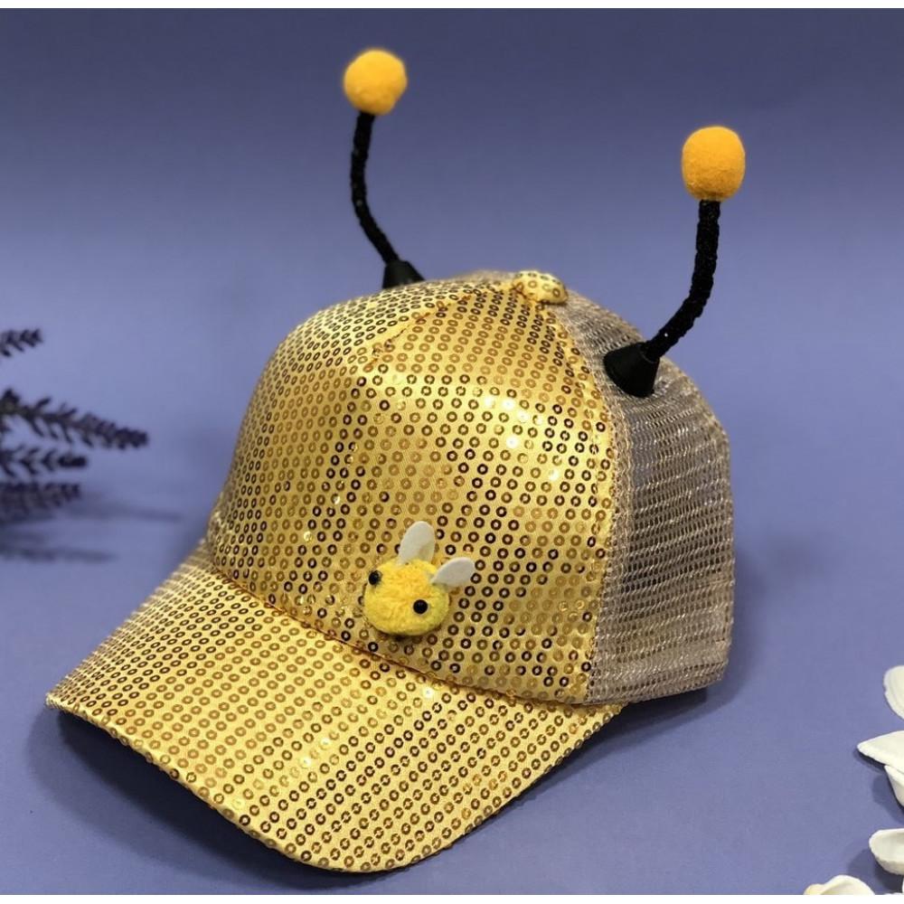 """Детская кепка """"пчелка"""" с пайетками фото 1"""
