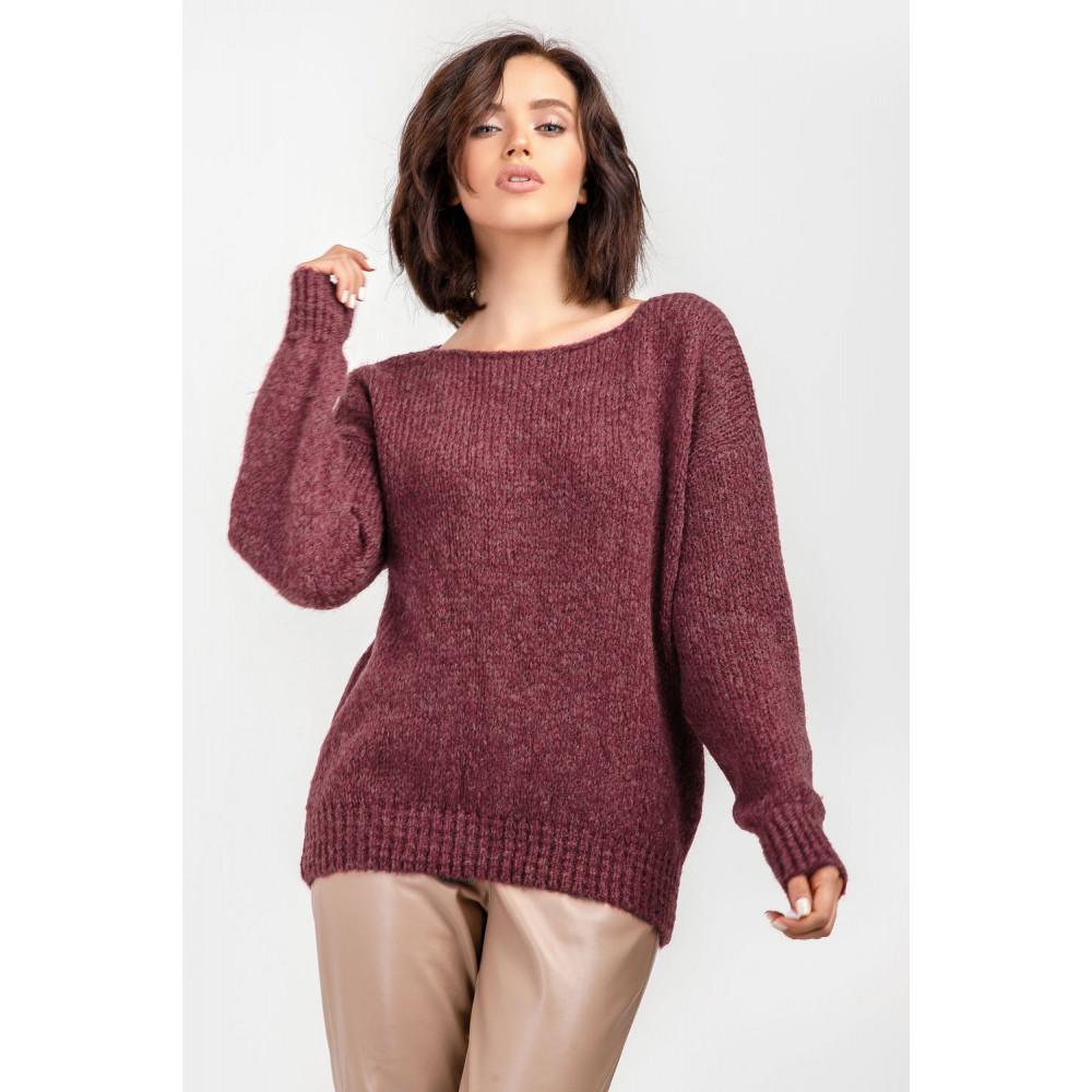 Бордовый пушистый свитер фото 4
