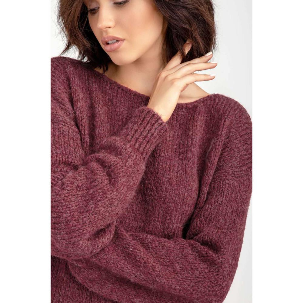 Бордовый пушистый свитер фото 6