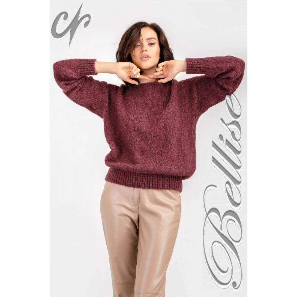 Бордовый пушистый свитер фото 7