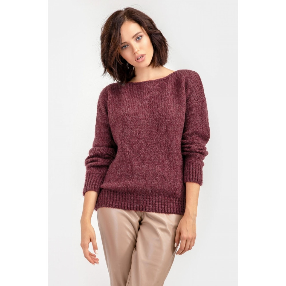 Бордовый пушистый свитер фото 11