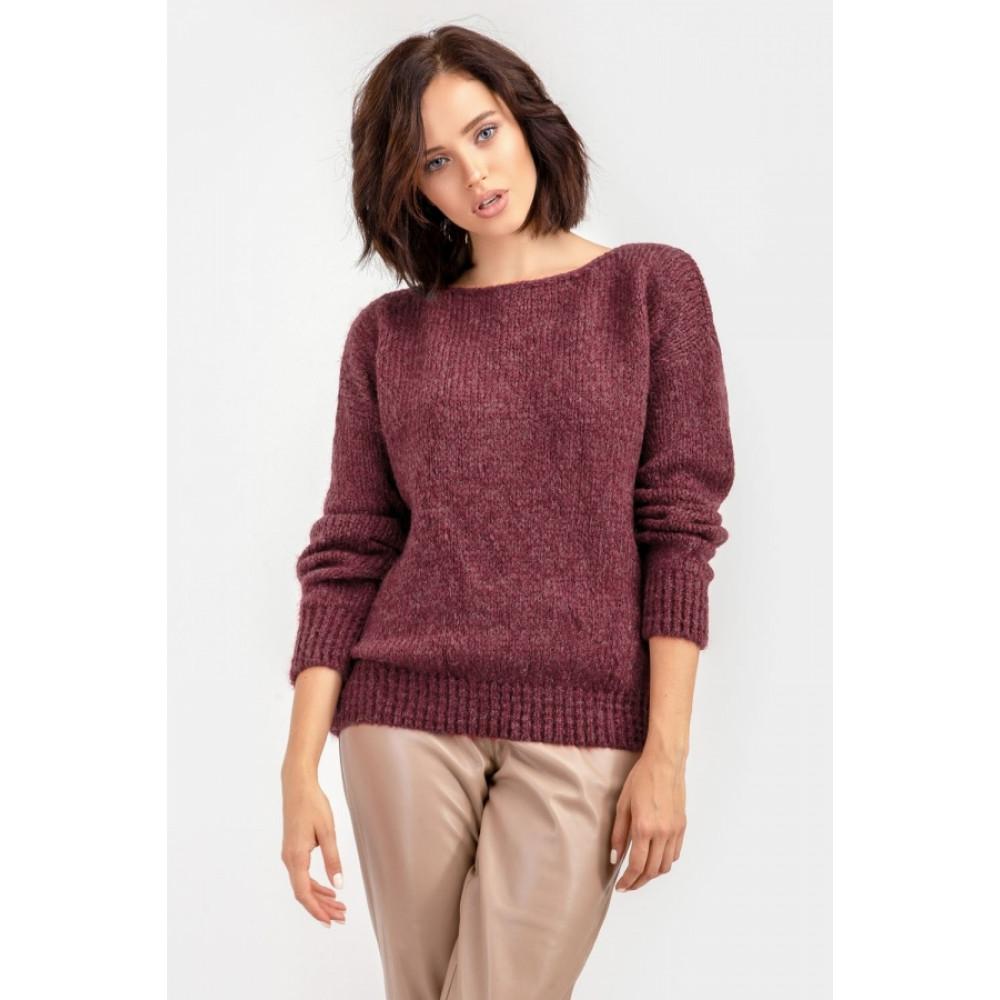 Бордовый пушистый свитер фото 13