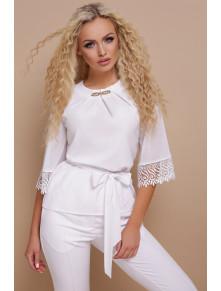 Роскошная белая блузка с поясом Карла