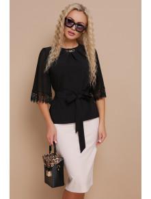 Стильная черная блузка с кружевом Карла