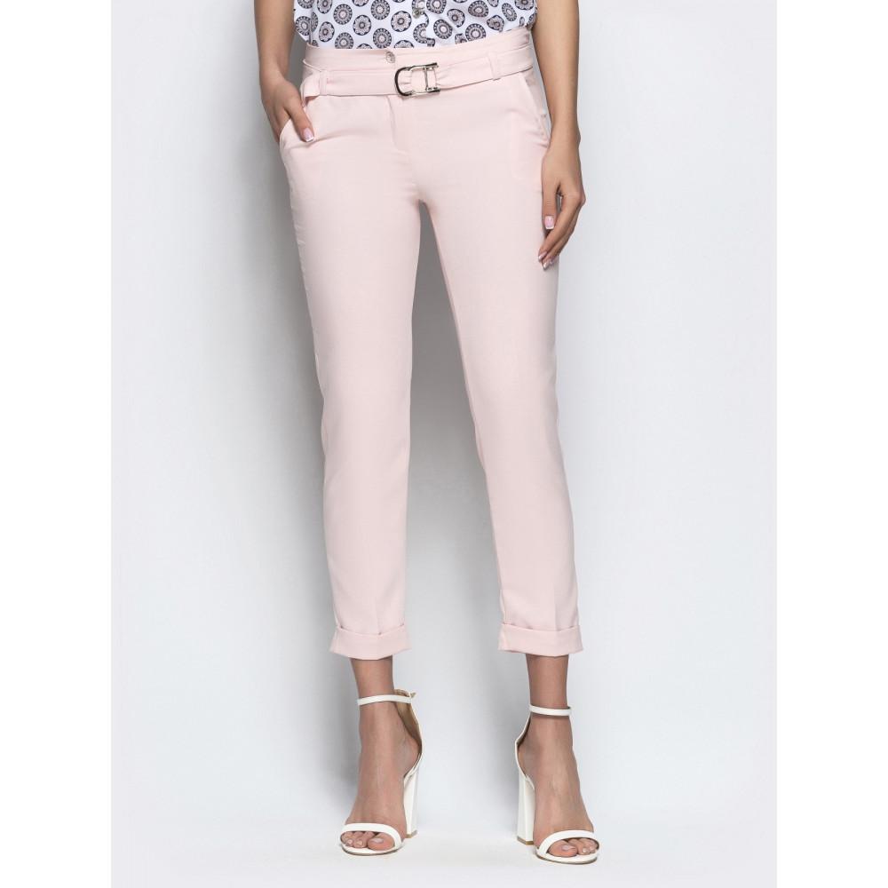 Женские укороченные брюки пудрового цвета фото 1