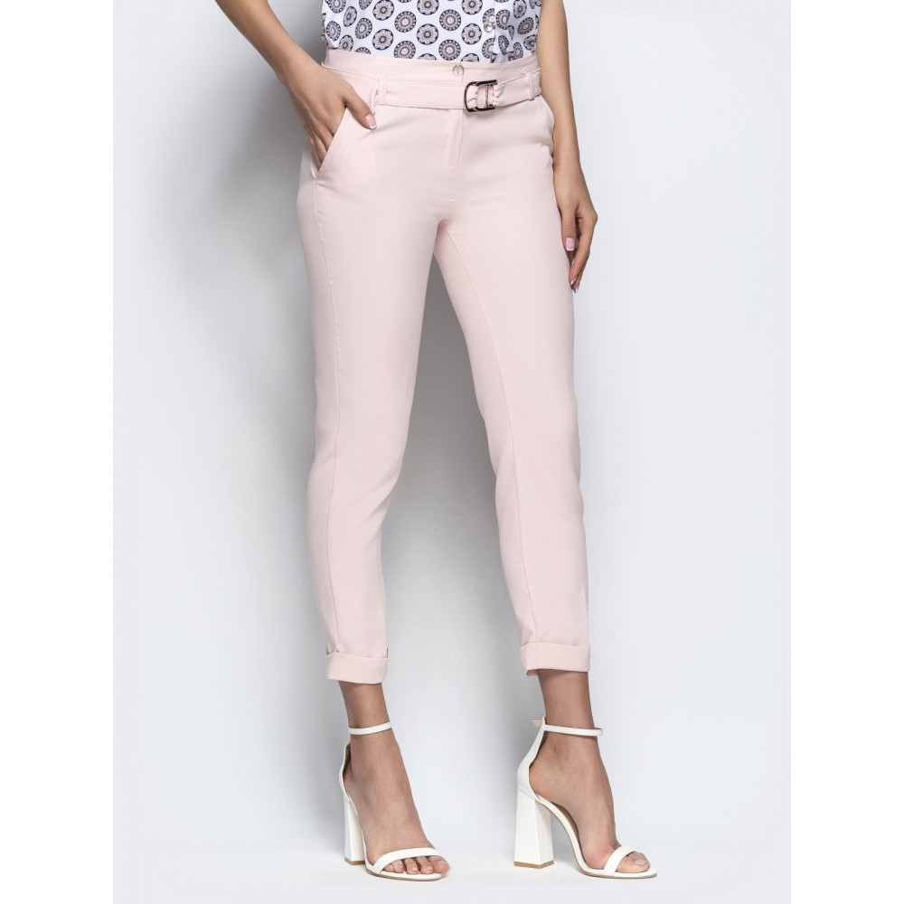 Женские укороченные брюки пудрового цвета фото 2