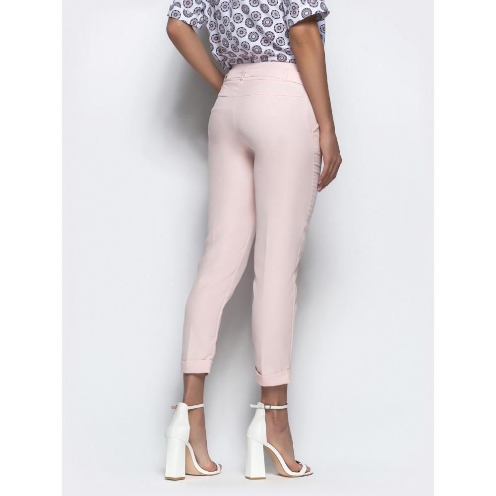 Женские укороченные брюки пудрового цвета фото 3