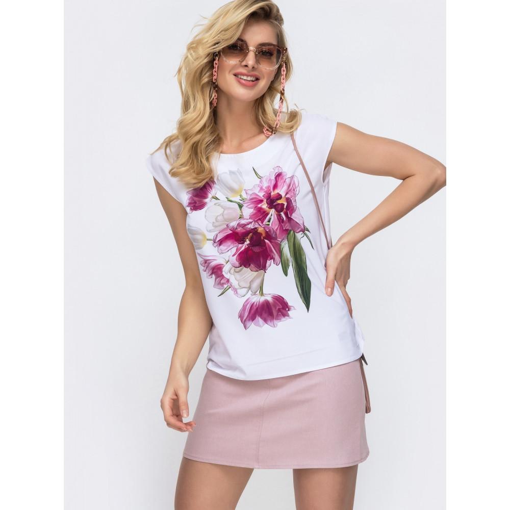 Белая блузка с шикарным цветочным принтом фото 2
