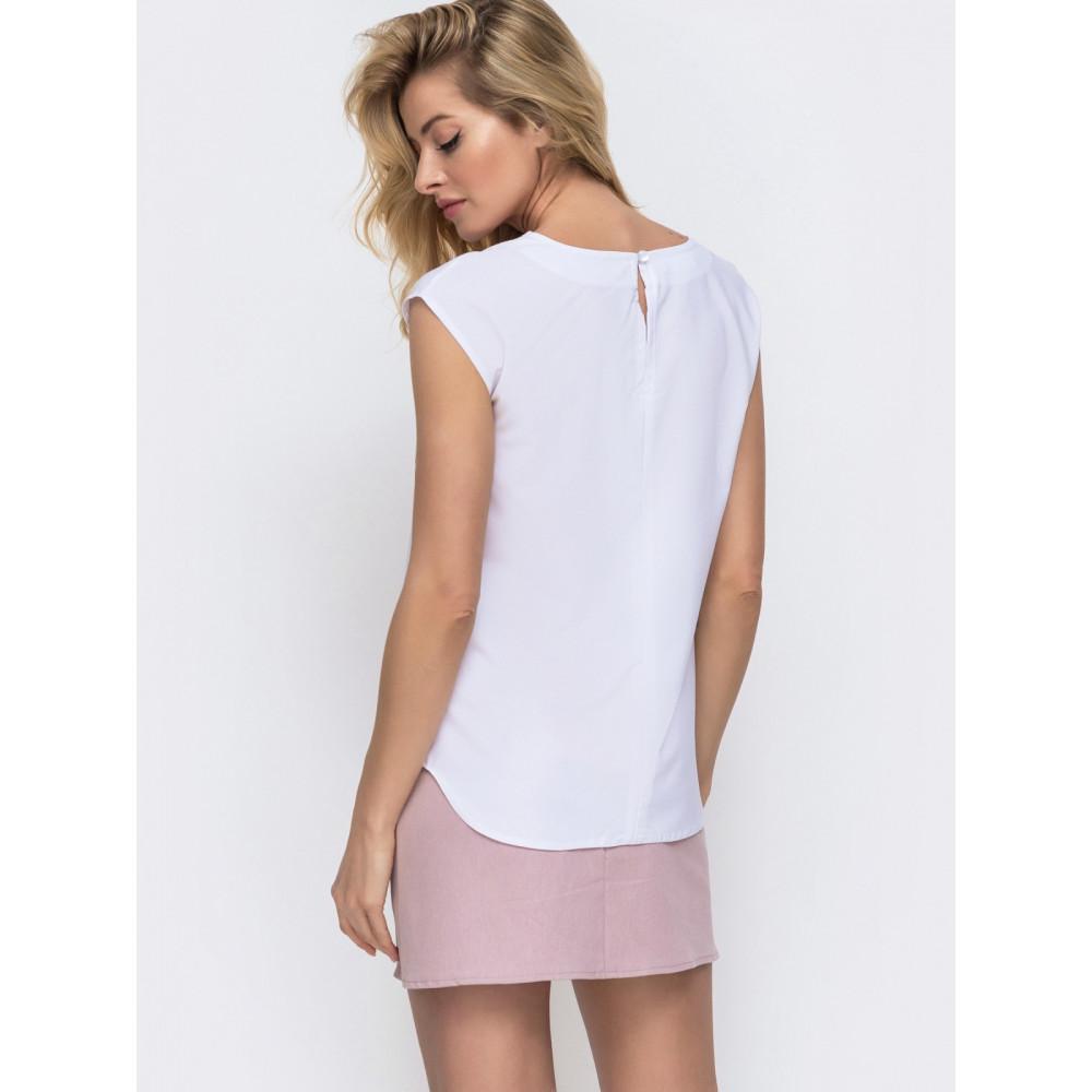 Белая блузка с шикарным цветочным принтом фото 3