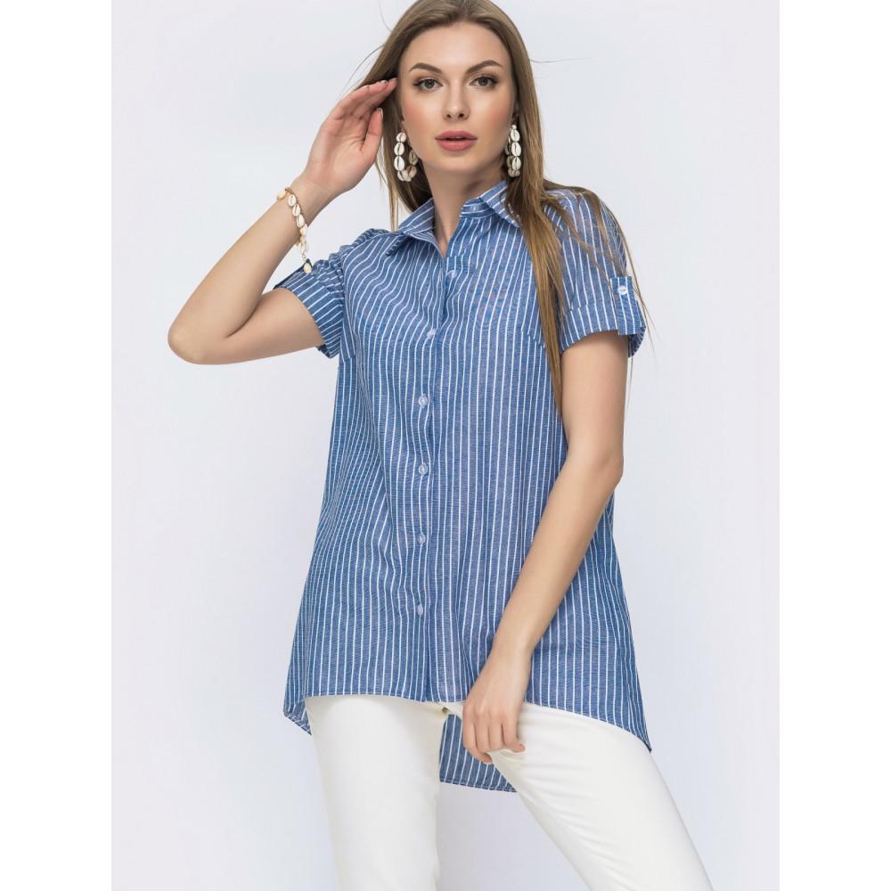 Льняная рубашка с удлинённой спинкой фото 1