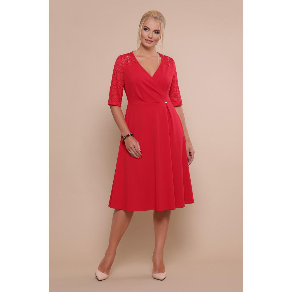 Алое платье с кружевными рукавами Ида фото 1