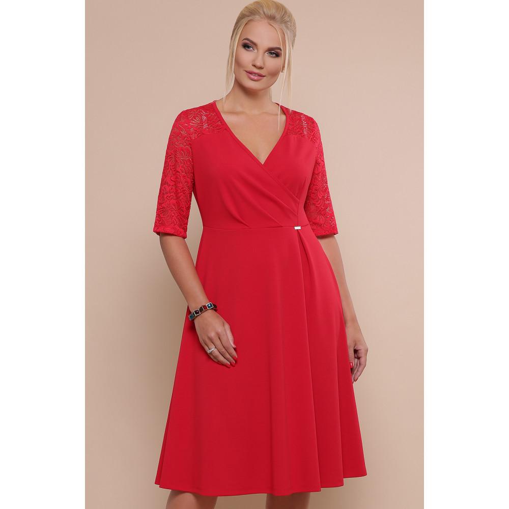 Алое платье с кружевными рукавами Ида фото 2