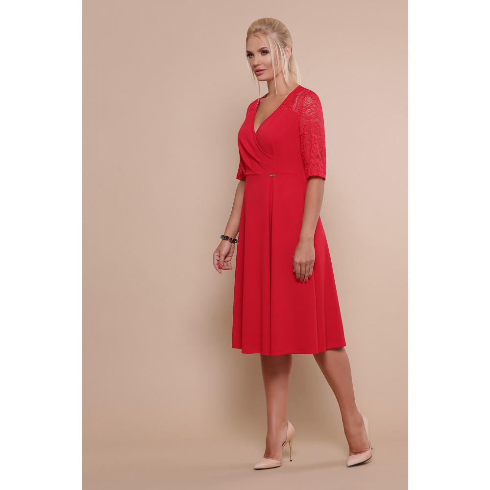 Алое платье с кружевными рукавами Ида фото 3