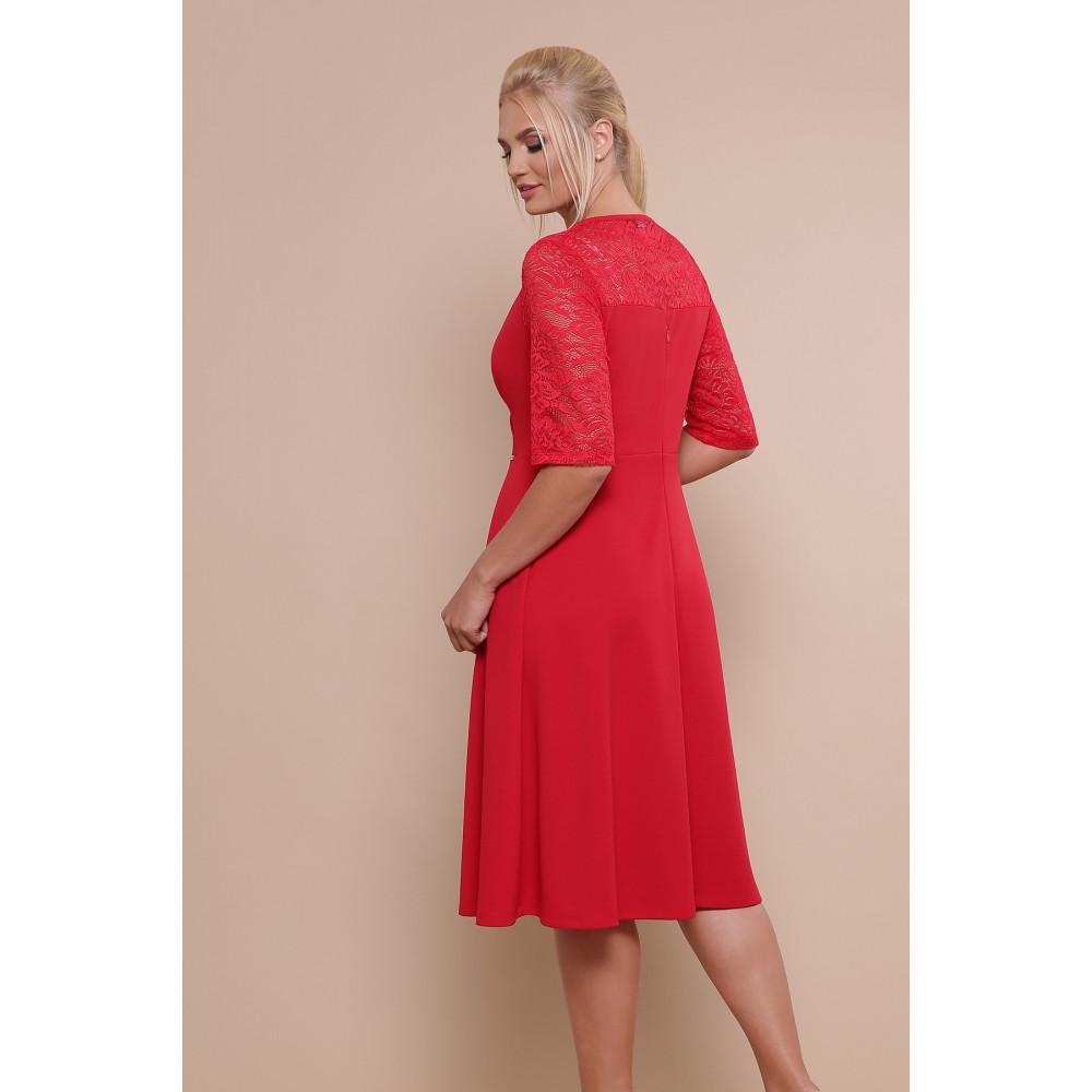 Алое платье с кружевными рукавами Ида фото 4