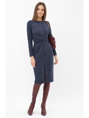 Синя замшева сукня-міді Етері