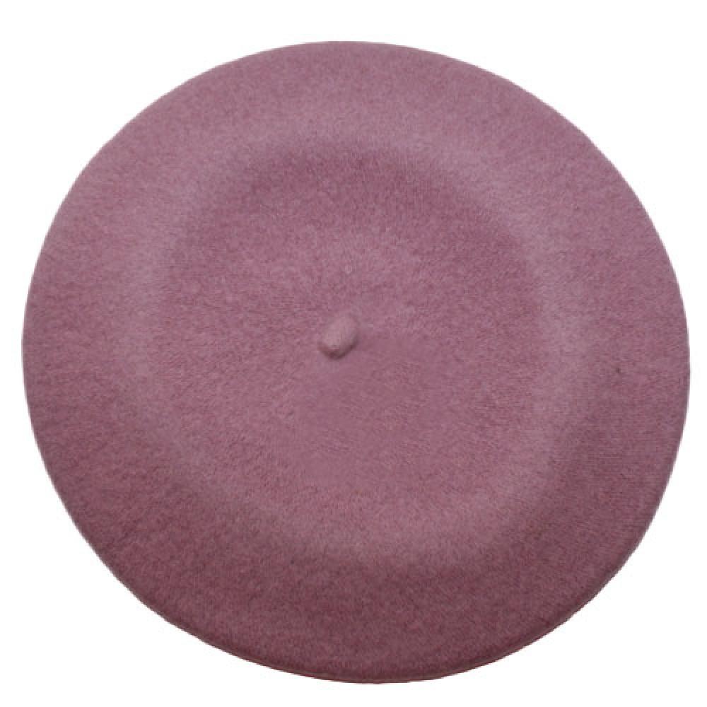 Берет шерстяной Флора-628 розовый фото 2