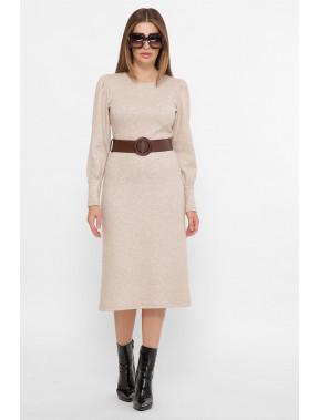 Теплое бежевое платье Жизель