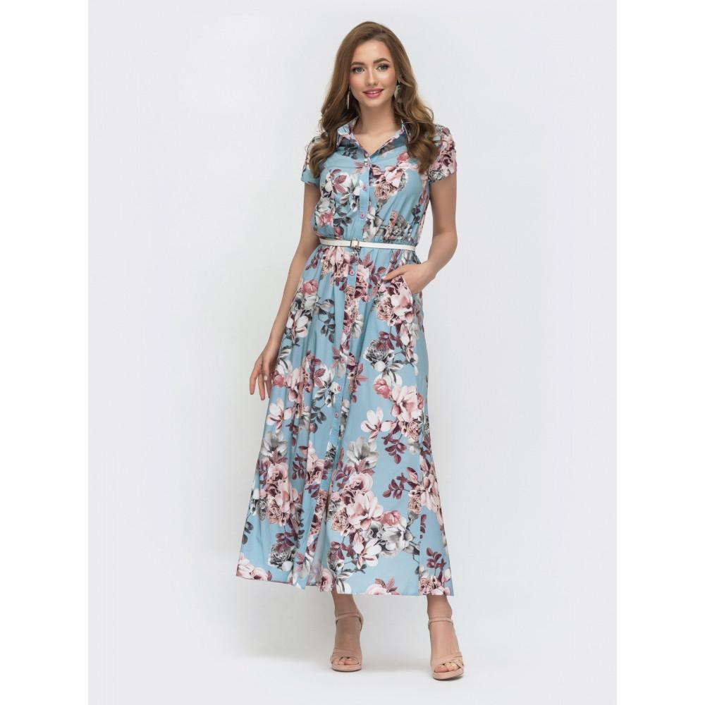 Женственное платье макси в цветы Нора фото 1