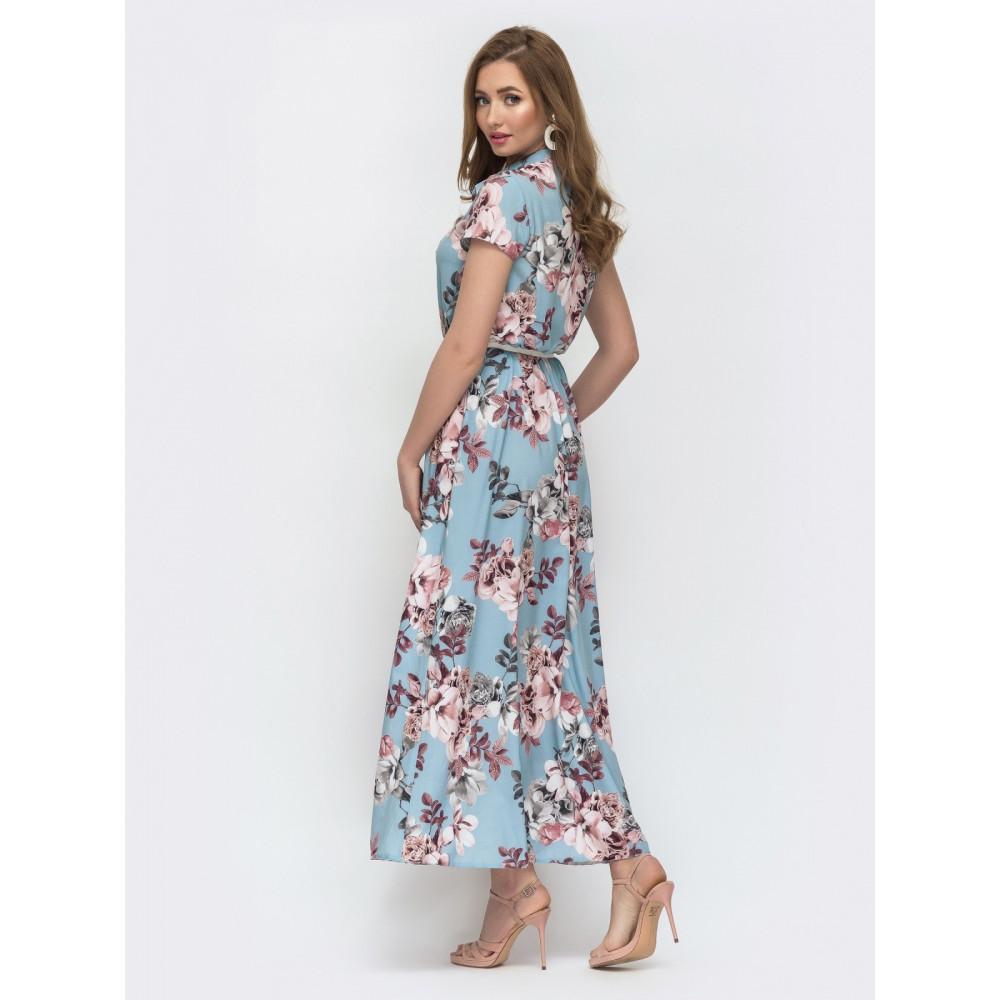Женственное платье макси в цветы Нора фото 2