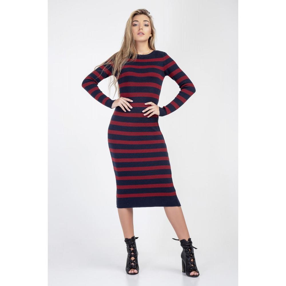 Женственное вязаное платье-миди фото 3