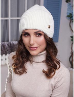 Молочная женская шапка Мирана с высоким манжетом