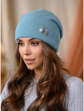 Стильна шапка з брошкою Юліанна