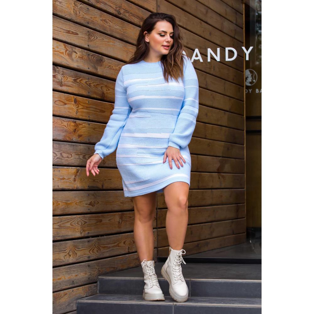 Голубое теплое платье Линда фото 1