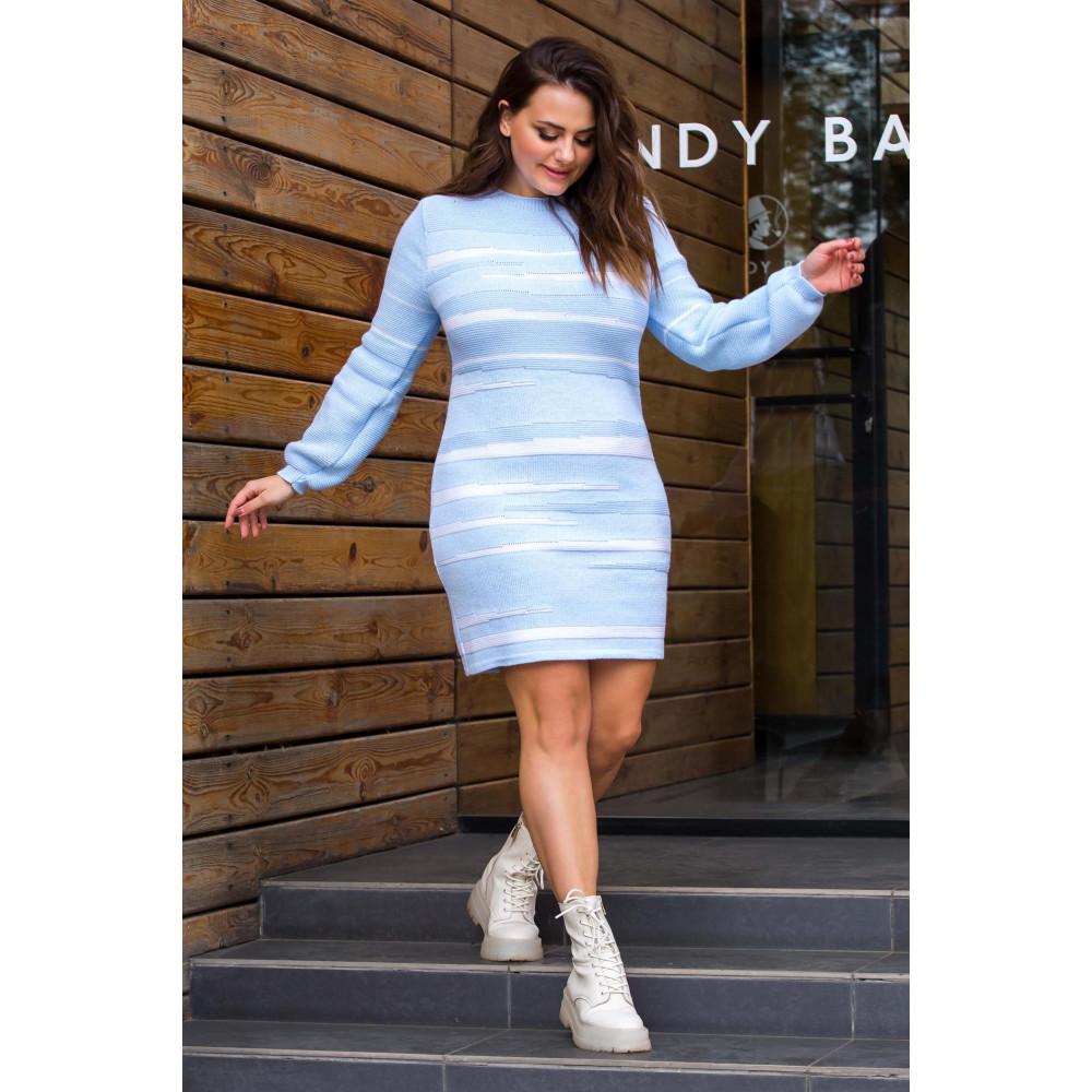 Голубое теплое платье Линда фото 2