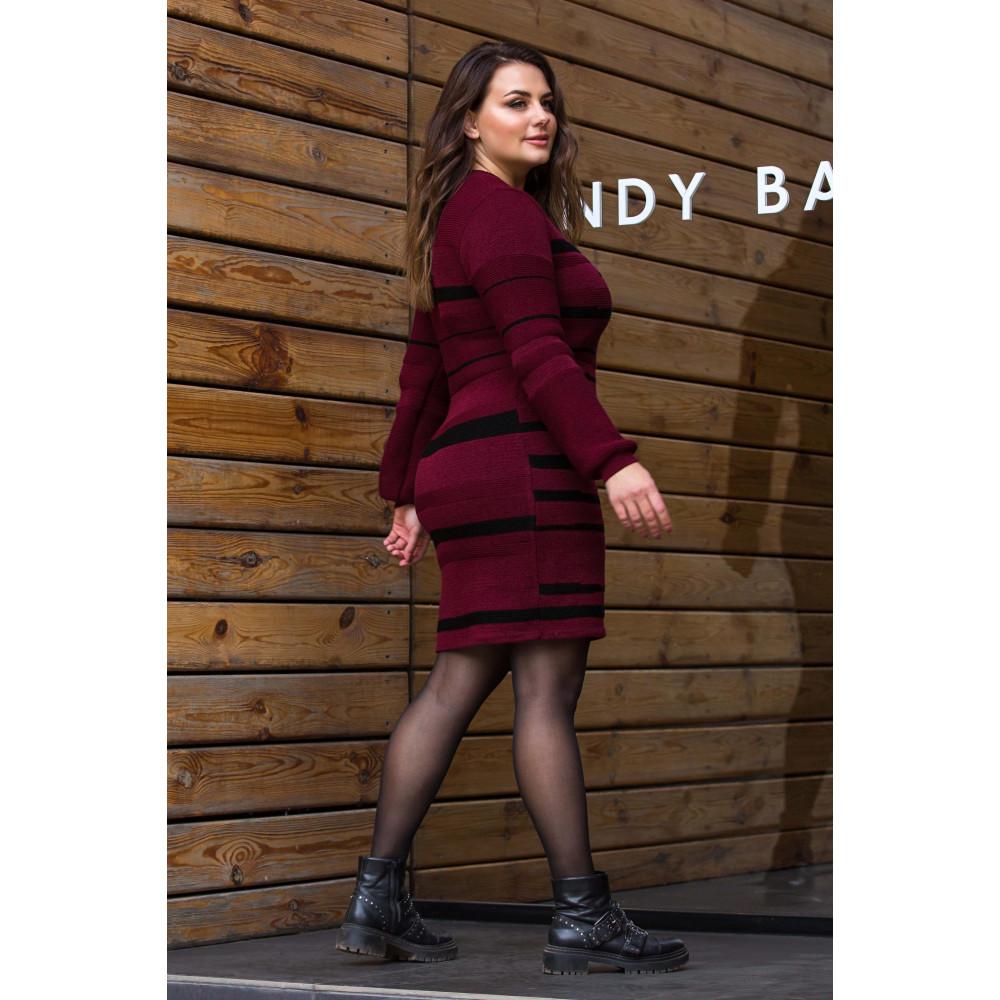 Бордовое теплое платье Линда фото 2