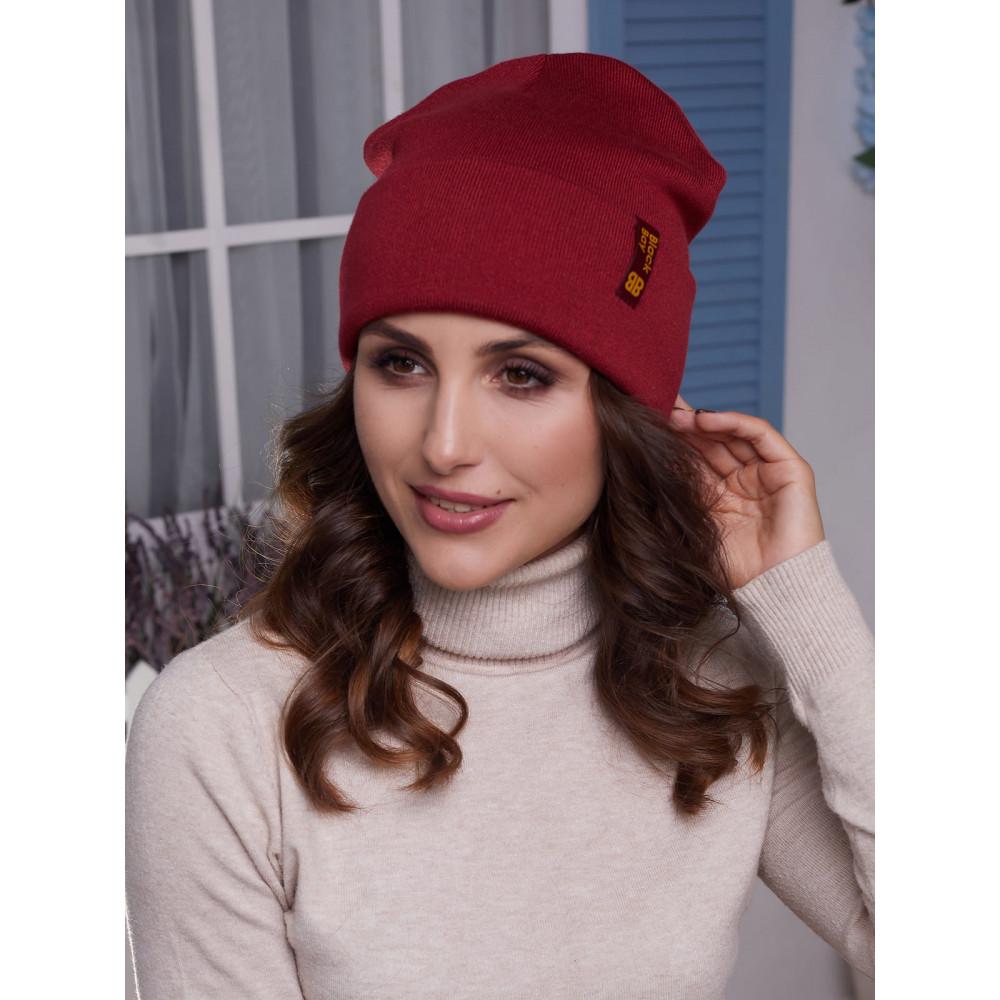 Демисезонная бордовая шапка Лана  фото 1