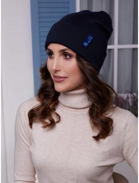 Женская синяя шапка Лана с манжетом