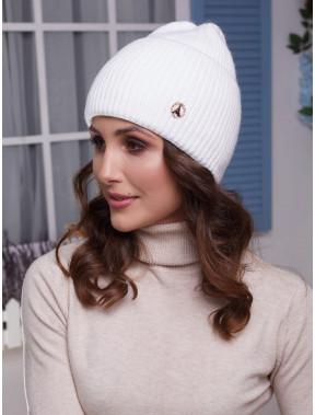 Белая шапка Мирана с высоким манжетом