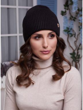 Черная шапка Мирана с высоким отворотом