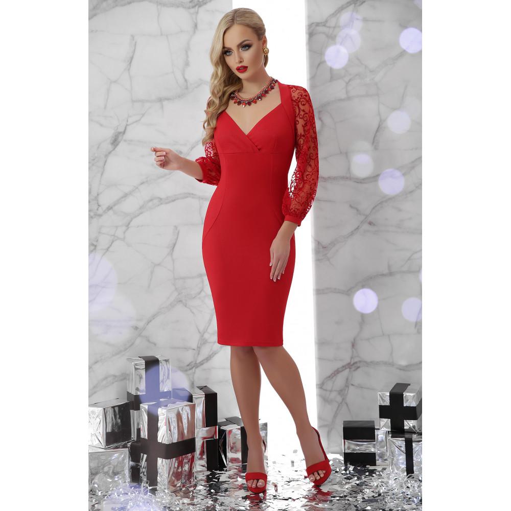 Красное платье с ажурными рукавами Флоренция фото 2