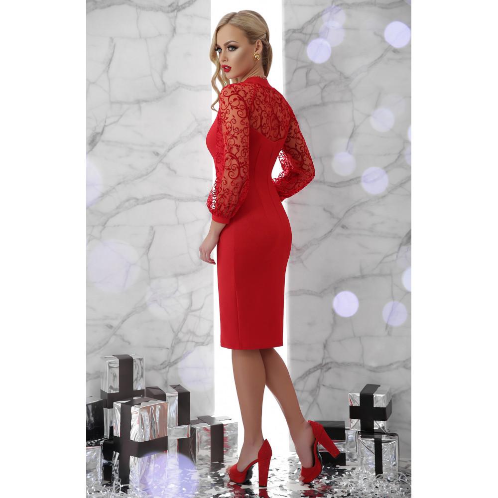 Красное платье с ажурными рукавами Флоренция фото 3