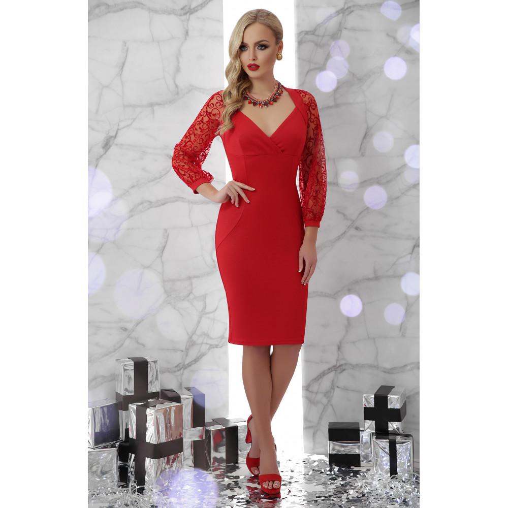 Красное платье с ажурными рукавами Флоренция фото 1