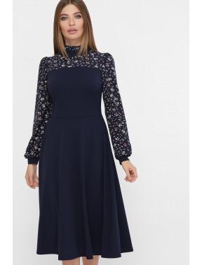 Темно-синее платье Алтея с цветочным акцентом
