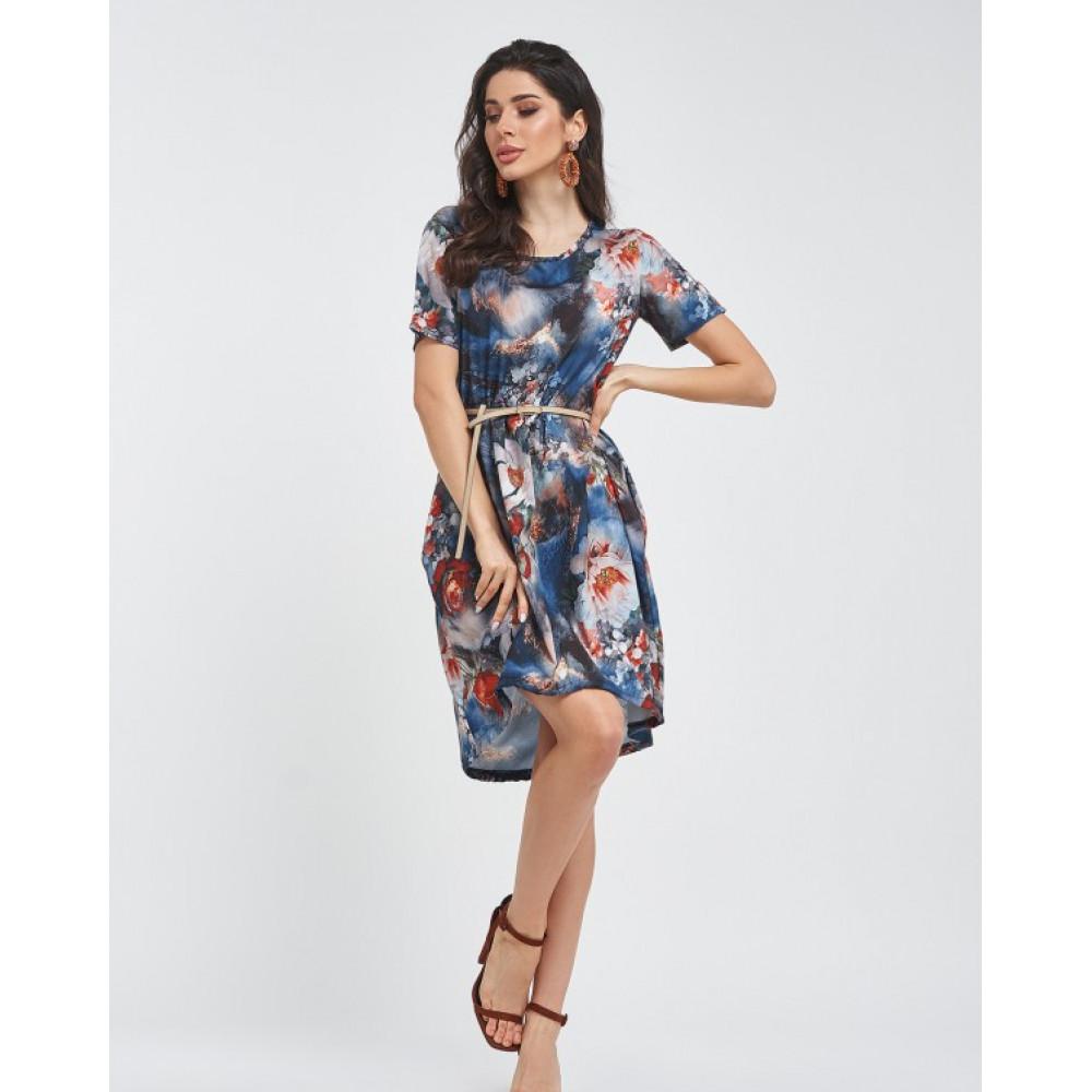 Свободное платье с акварельным принтом фото 1