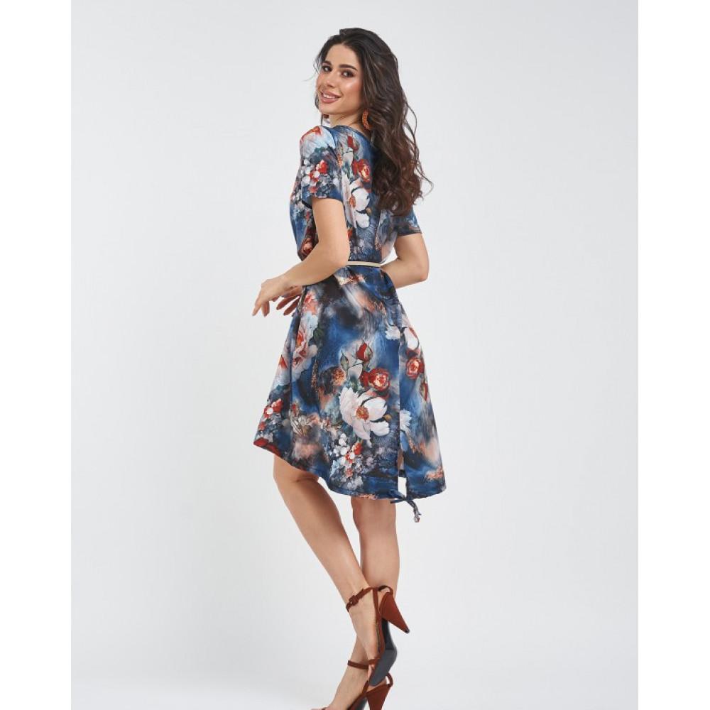 Свободное платье с акварельным принтом фото 2