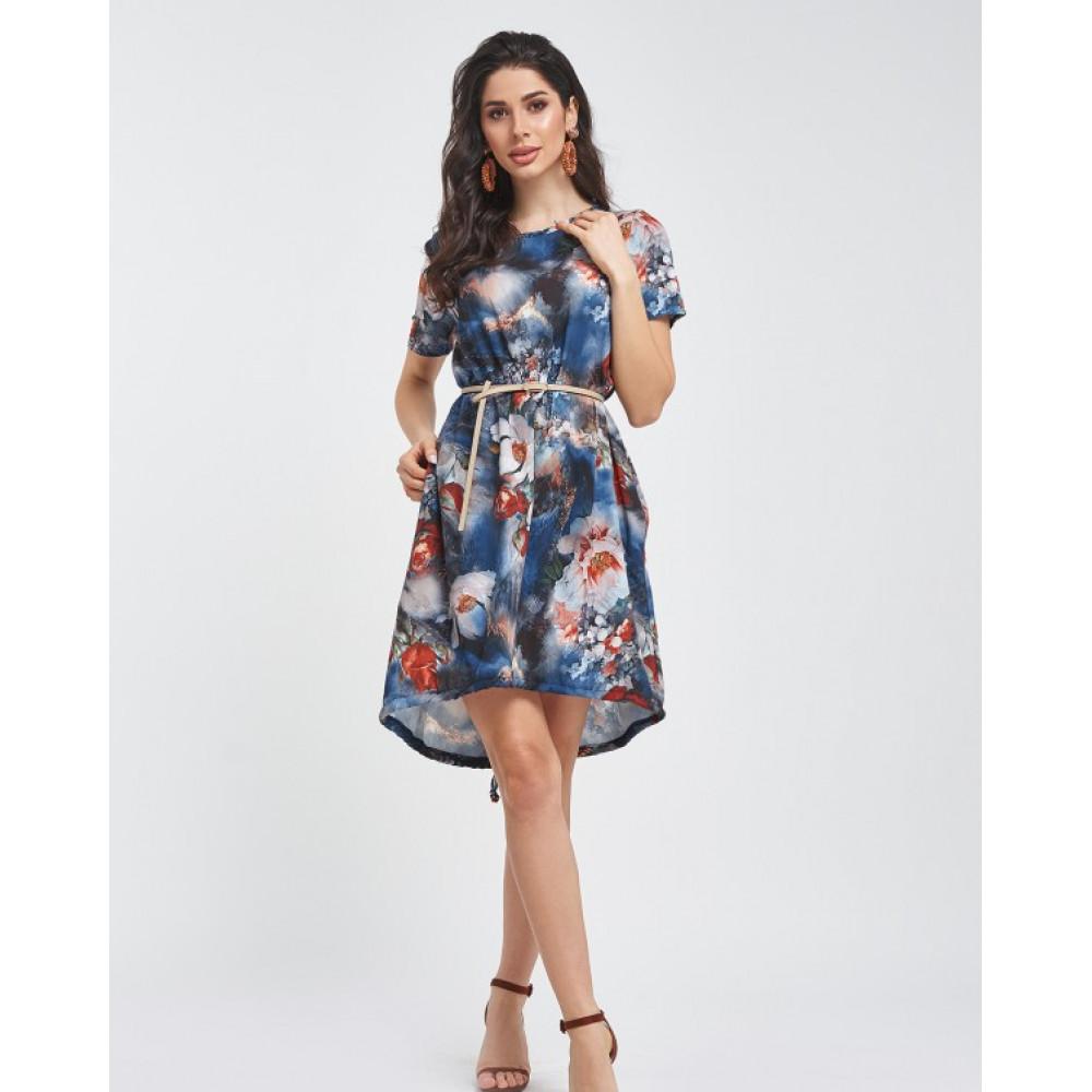 Свободное платье с акварельным принтом фото 3