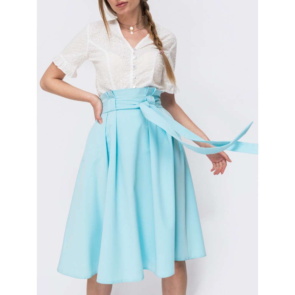 Голубая расклешенная юбка миди  фото 1