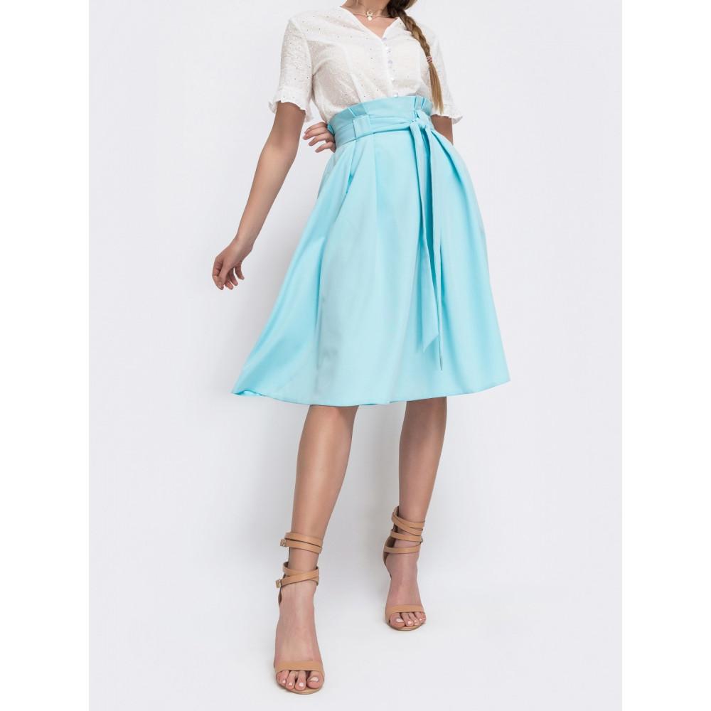 Голубая расклешенная юбка миди  фото 2